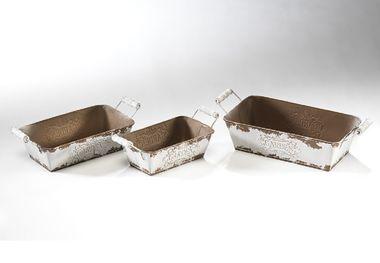 Pflanzgefäß rechteckig aus Metall 3er set