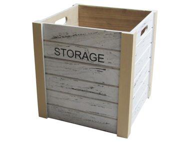 Storage-Kiste aus Holz quadratisch in weiß - klein von LOCKER
