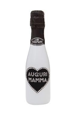 Geschenk Geburtstag  Muttertag Sekt Flasche 0,2l  Swarovski Kristalle verziert Motiv AUGURI MAMMA – Bild 1