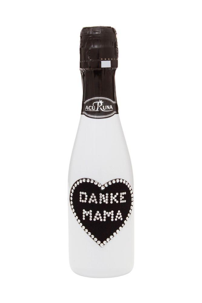 """Geschenk Geburtstag  Muttertag Sekt Flasche 0,2l  Swarovski Kristalle verziert Motiv """"DANKE MAMA"""""""