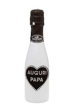 """Geschenk Geburtstag  Vatertag  Sekt Flasche 0,2l Swarovski Kristalle Motiv """"AUGURI PAPA"""" – Bild 1"""