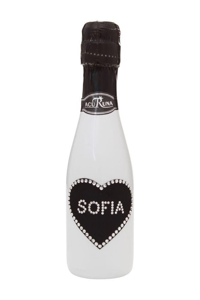 Geschenk  Geburtstag personalisiert Sekt Flasche 0,2 l  mit Swarovski Kristallen verziert  Motiv SOFIA