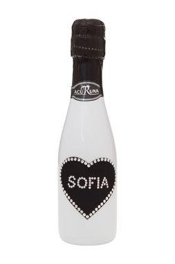 Geschenk  Geburtstag personalisiert Sekt Flasche 0,2 l  mit Swarovski Kristallen verziert  Motiv SOFIA – Bild 1