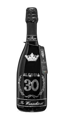 Geschenk Geburtstag personalisiert mit Swarovski Kristallen  Prosecco Flasche 0,75 l  Motiv ALESSIA 30 – Bild 1