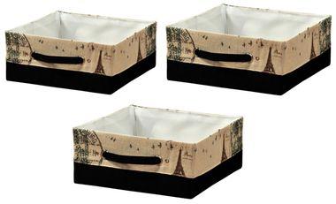 """AUFBEWAHRUNGSKORB """"Paris"""" 3er Set BOX KISTE Textil KORB ORDNUNGSBOX faltbar REGAL – Bild 1"""