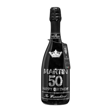 Geschenk  Geburtstag personalisiert mit Swarovski Kristallen  Prosecco Flasche 0,75 l  Motiv MARTIN 50 – Bild 1
