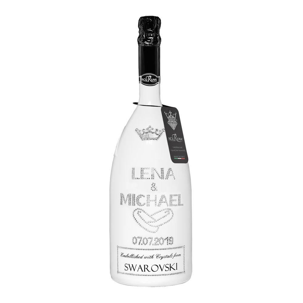 Geschenk Hochzeit personalisiert mit Swarovski Kristallen Sekt Flasche 1,5l  Motiv  LENA & MICHAEL