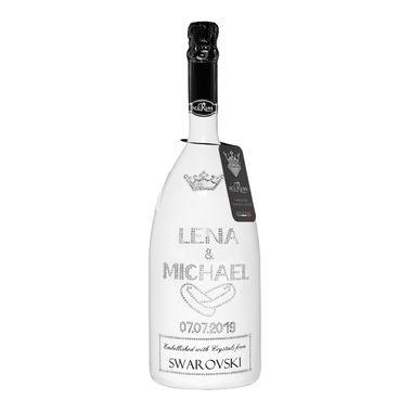 Geschenk Hochzeit personalisiert mit Swarovski Kristallen Sekt Flasche 1,5l  Motiv  LENA & MICHAEL – Bild 1