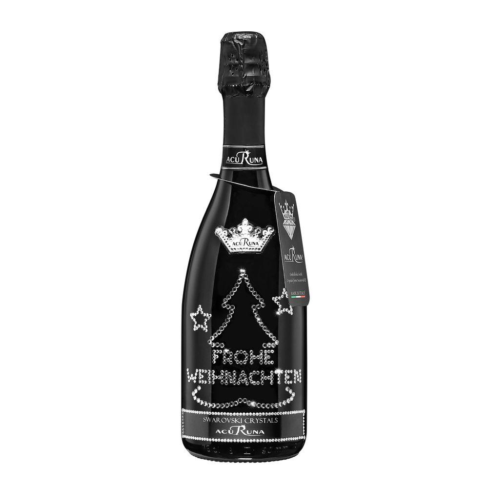 Geschenk Weihnachten personalisiert mit Swarovski Kristallen  Prosecco Flasche 0,75 l  Motiv FROHE WEIHNACHTEN BAUM