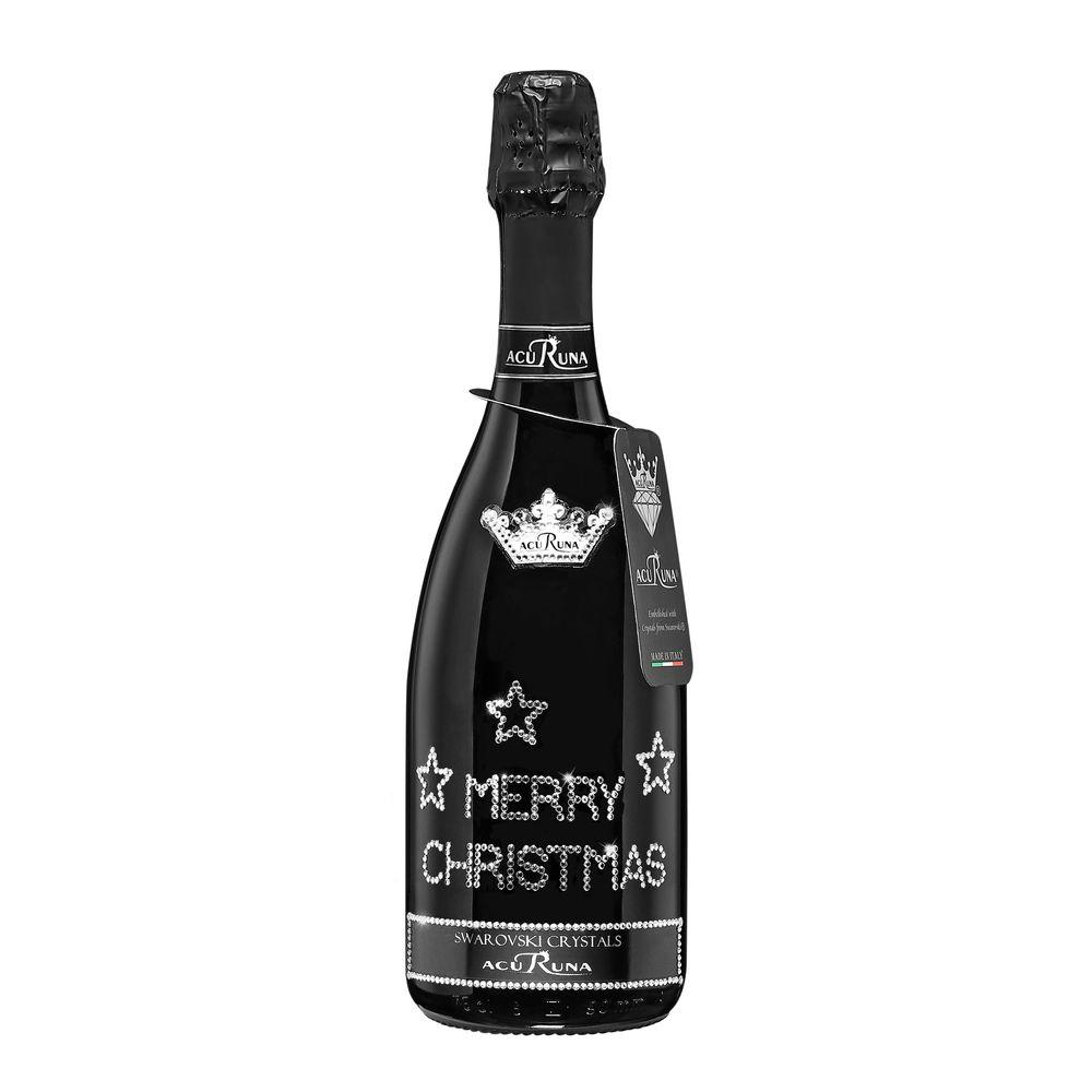 Geschenk Weihnachten personalisiert mit Swarovski Kristallen Prosecco Flasche 0,75 l  Motiv MERRY CHRISTMAS Sterne