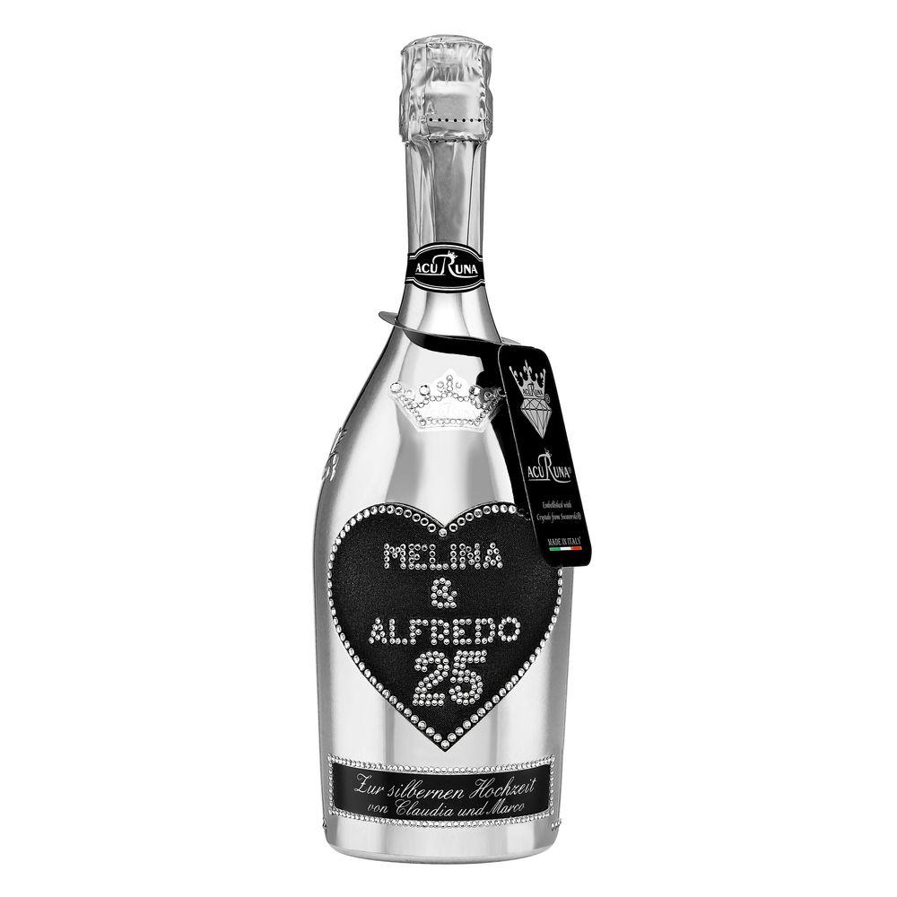 Geschenk Silberhochzeit Hochzeitstag personalisiert mit Swarovski Kristallen Sekt Flasche 0,75 l Motiv MELINA & ALFREDO 25