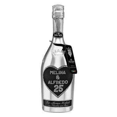 Geschenk Silberhochzeit Hochzeitstag personalisiert mit Swarovski Kristallen Sekt Flasche 0,75 l Motiv MELINA & ALFREDO 25 – Bild 1