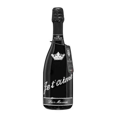 Geschenk LIEBE personalisiert mit Swarovski Kristallen Prosecco Flasche 0,75 l  JE T'AIME – Bild 1