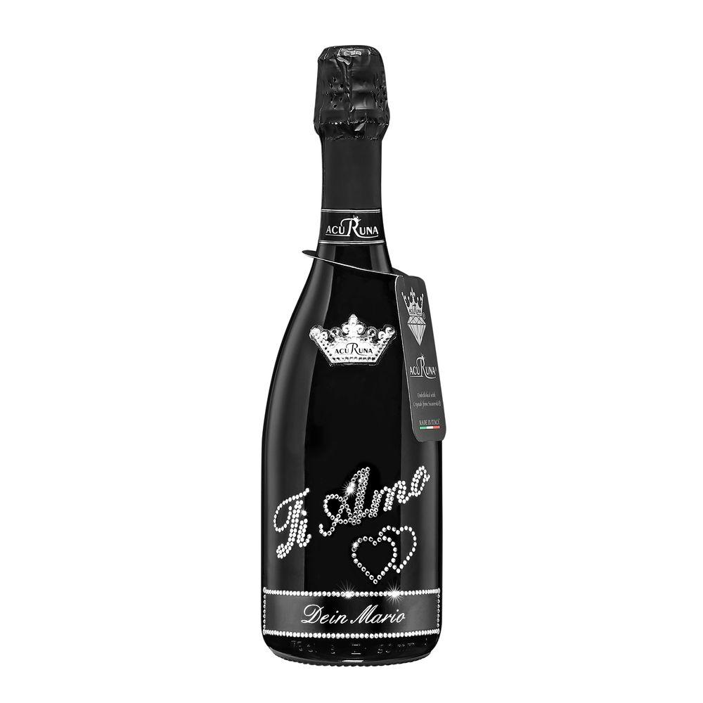 Geschenk LIEBE personalisiert mit Swarovski Kristallen Prosecco Flasche 0,75 l  TI AMO