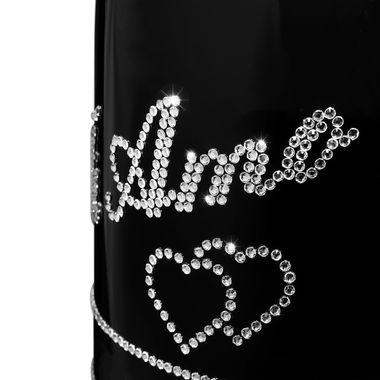 Geschenk LIEBE personalisiert mit Swarovski Kristallen Prosecco Flasche 0,75 l  TI AMO – Bild 2