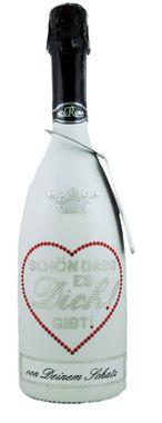 Geschenk Liebe Frauen Männer personalisiert Sekt Flasche 0,75l  mit Swarovski Kristallen verziert  Motiv SCHÖN DAS ES DICH!GIBT! – Bild 1