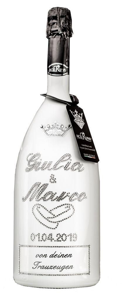 Geschenk Hochzeit personalisiert mit Swarovski Kristallen Sekt Flasche 1,5l  Motiv Giulia & Marco