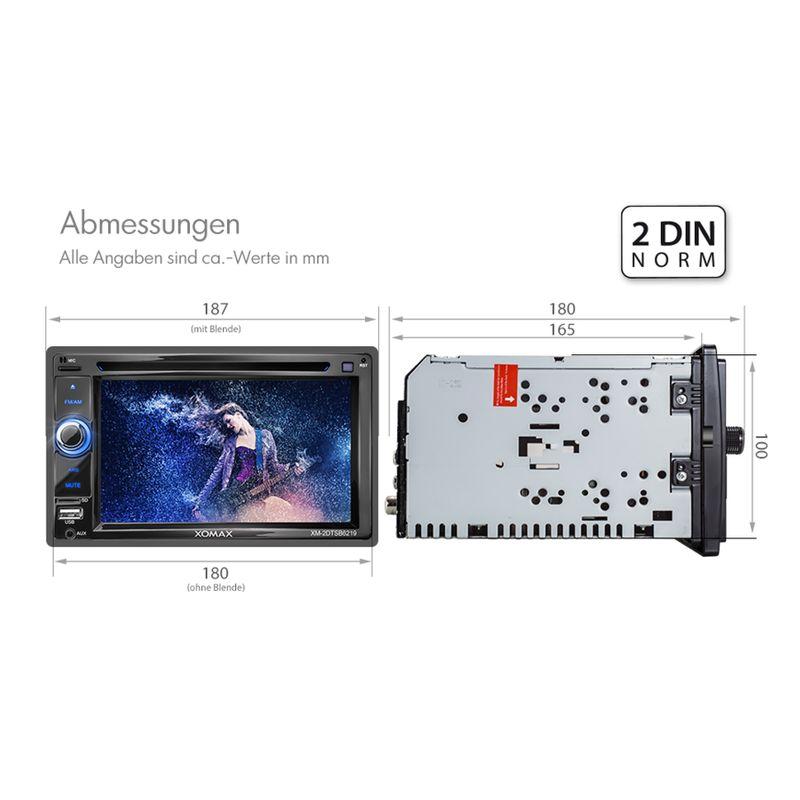 "XOMAX XM-2DTSB6219BT 16cm/6,2"" 2DIN DVD-Moniceiver Autoradio BLUETOOTH (B-Ware) – Bild 5"
