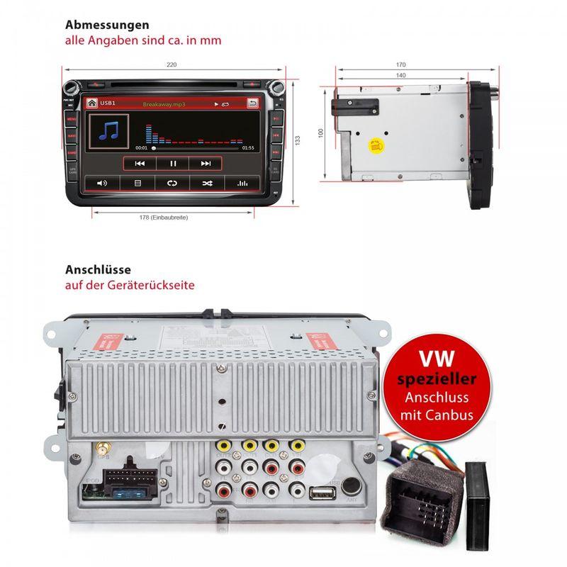 XOMAX XM-05G: 2DIN Autoradio mit Navigation und Bluetooth (passend für Volkswagen, Seat, Skoda) (B-Ware) – Bild 4