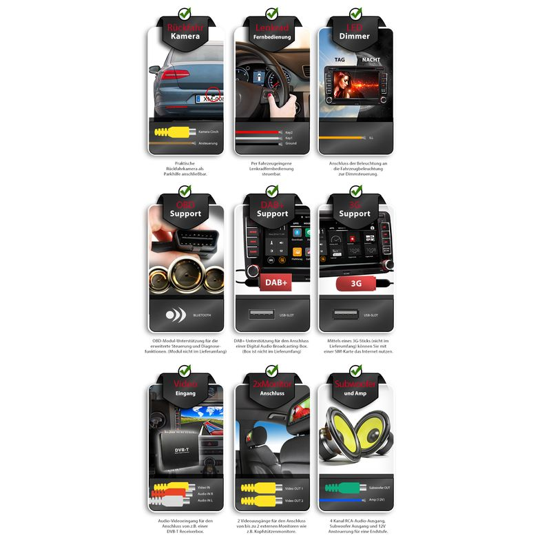 XOMAX XM-07GA: 2DIN Navi Autoradio mit Android 5.1, 7 Zoll Touchscreen Monitor, Bluetooth, SD und USB (B-Ware) – Bild 10