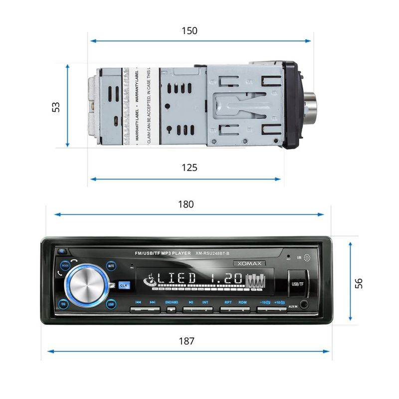 XOMAX XM-RSU250B v2 FlashXO USB SD Autoradio ohne Laufwerk mit 7 Beleuchtungsfarben (B-Ware) – Bild 6