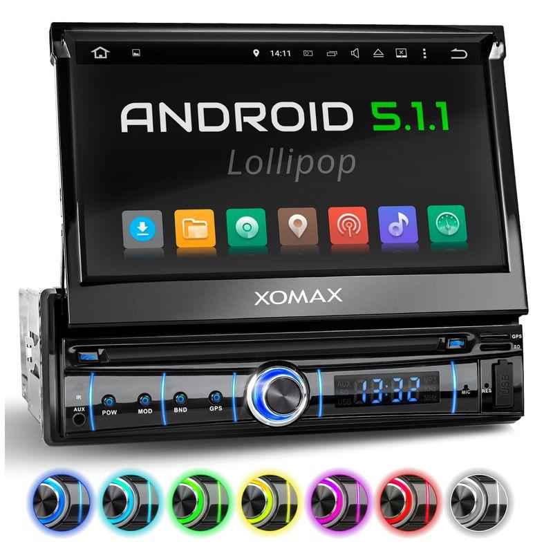 XOMAX XM-VRSUA737: 1DIN Android 5.1 Navi Autoradio mit 7 Zoll Touchscreen Monitor, Bluetooth, SD und USB (B-Ware) – Bild 1
