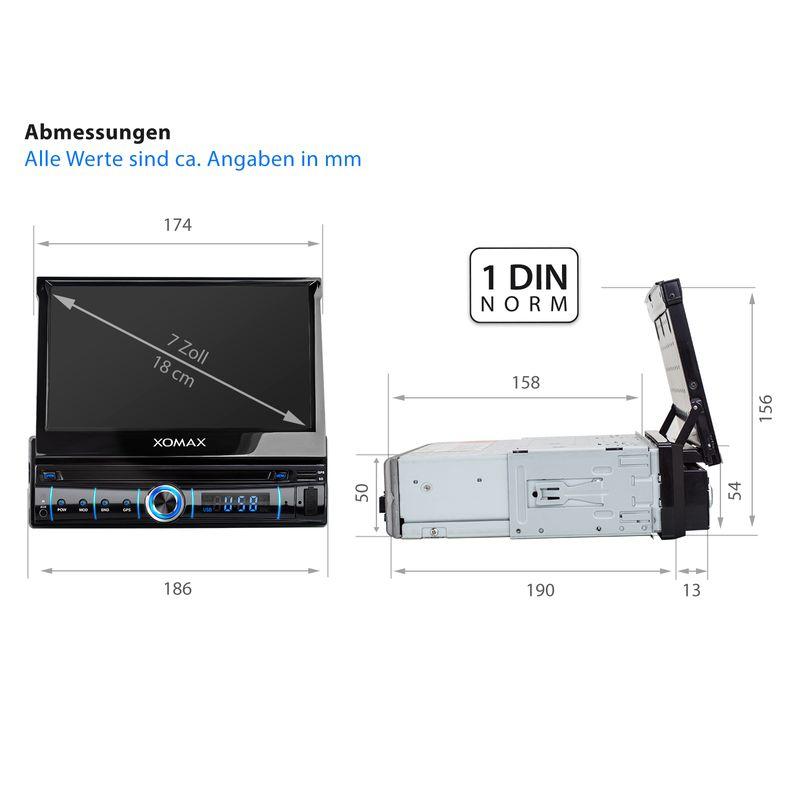 XOMAX XM-VRSUA737: 1DIN Android 5.1 Navi Autoradio mit 7 Zoll Touchscreen Monitor, Bluetooth, SD und USB (B-Ware) – Bild 5