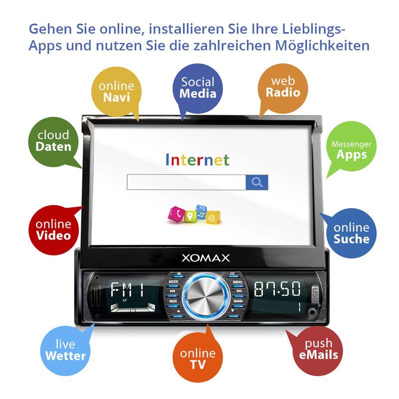 XOMAX XM-VRSUA739: 1DIN Autoradio mit Android 5.1 Navi 7 Zoll Touchscreen Monitor, Bluetooth, SD und USB (B-Ware) – Bild 6