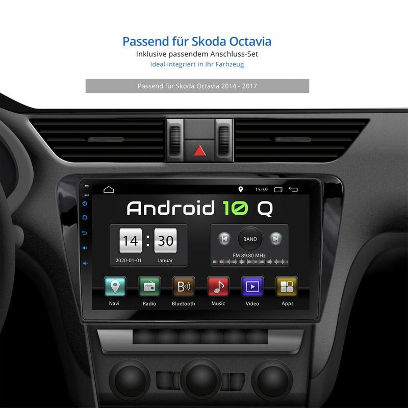 XOMAX XM-10SKOCT Navi Autoradio mit Android 10 2GB RAM passend für SKODA OCTAVIA inkl. passenden Rahmen – Bild 2