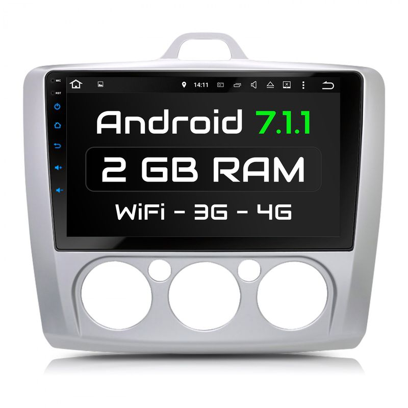 XOMAX XM-9FF-S: FORD FOCUS Android 7.1.1 Navi Autoradio inkl. passenden Rahmen – Bild 1