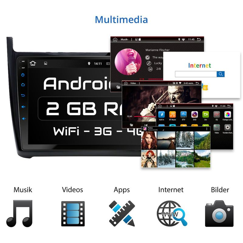 XOMAX XM-9GP: Navi Autoradio mit Android 10 passend für VW GOLF POLO (inkl. Rahmen) – Bild 3
