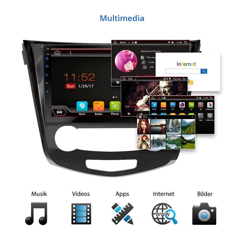 XOMAX XM-10NISQQ: passend für NISSAN QASHQAI J11 Android 7.1.1 Navi Autoradio inkl. passenden Rahmen – Bild 4