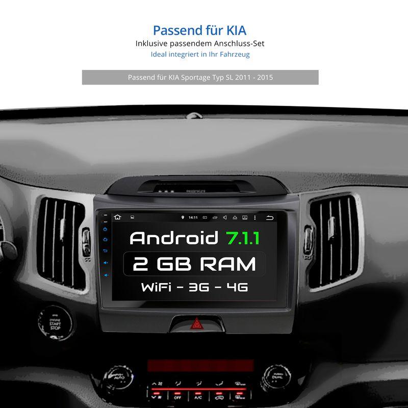 XOMAX XM-9KSPRT: Autoradio mit Android 7.1.1 passend für KIA SPORTAGE TYP SL Navi  inkl. passenden Rahmen (B-Ware) – Bild 6