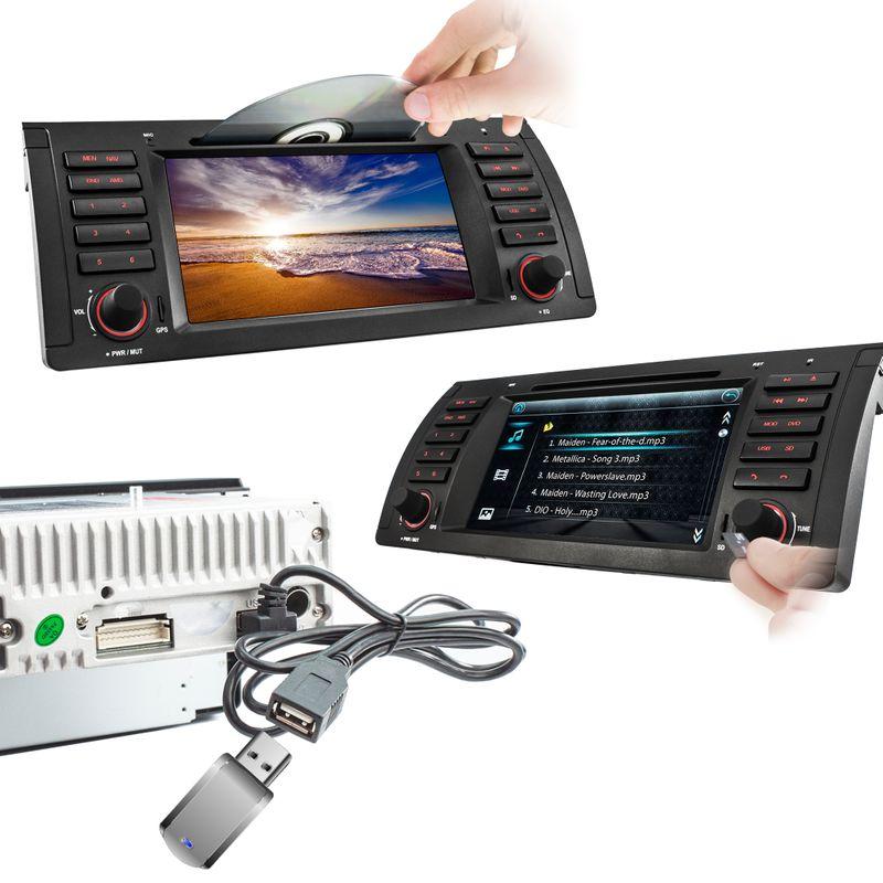 XOMAX XM-39B: 1DIN Autoradio mit Navigation und Bluetooth (passend für BMW E39 E53 M5) (B-Ware) – Bild 3