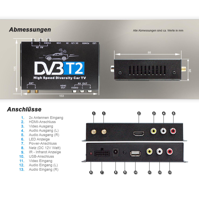 XOMAX XM-DVBT2-01 AUTO DVB-T2 Receiver 12V / 24V Autoradio Zubehör ...