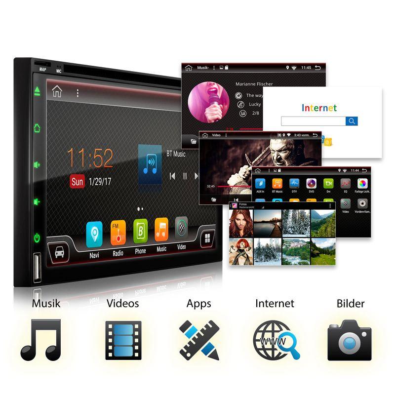 XOMAX XM-2DA6901 L2 Android 7.1.1: 2DIN Autoradio mit Android 7.1.1 Navi 7 Zoll Touchscreen Monitor, Bluetooth, DVD-Laufwerk, SD und USB (B-Ware) – Bild 2
