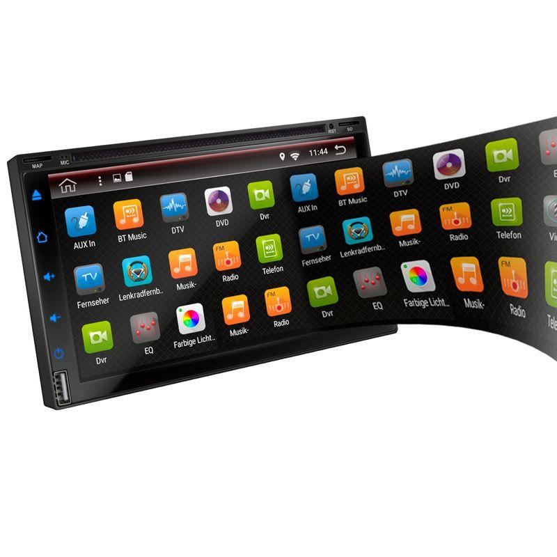 XOMAX XM-2DA6901 L2 Android 7.1.1: 2DIN Autoradio mit Android 7.1.1 Navi 7 Zoll Touchscreen Monitor, Bluetooth, DVD-Laufwerk, SD und USB (B-Ware) – Bild 3