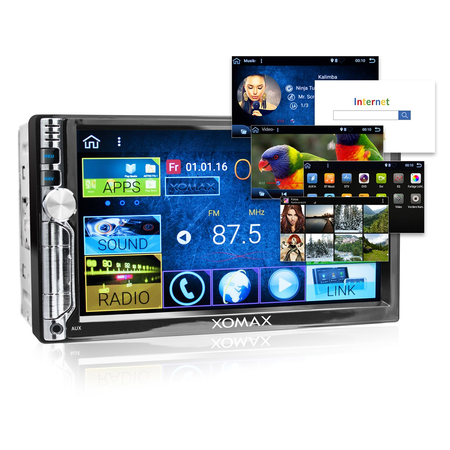 xomax xm 2va706 2din autoradio mit android 6 0 1 navi 7 zoll touchscreen monitor bluetooth. Black Bedroom Furniture Sets. Home Design Ideas