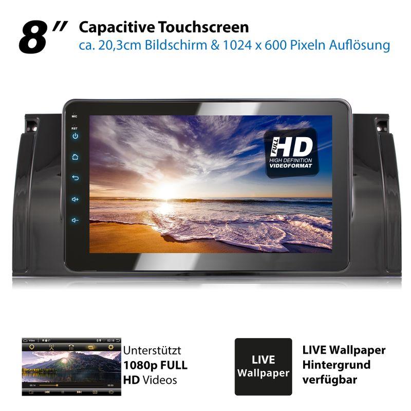 XOMAX XM-39BA: 2DIN Autoradio mit Android 8.1 Navi 8 Zoll Touchscreen Monitor, Bluetooth, USB (passend für BMW E39, E53 X5 und M5)  – Bild 7
