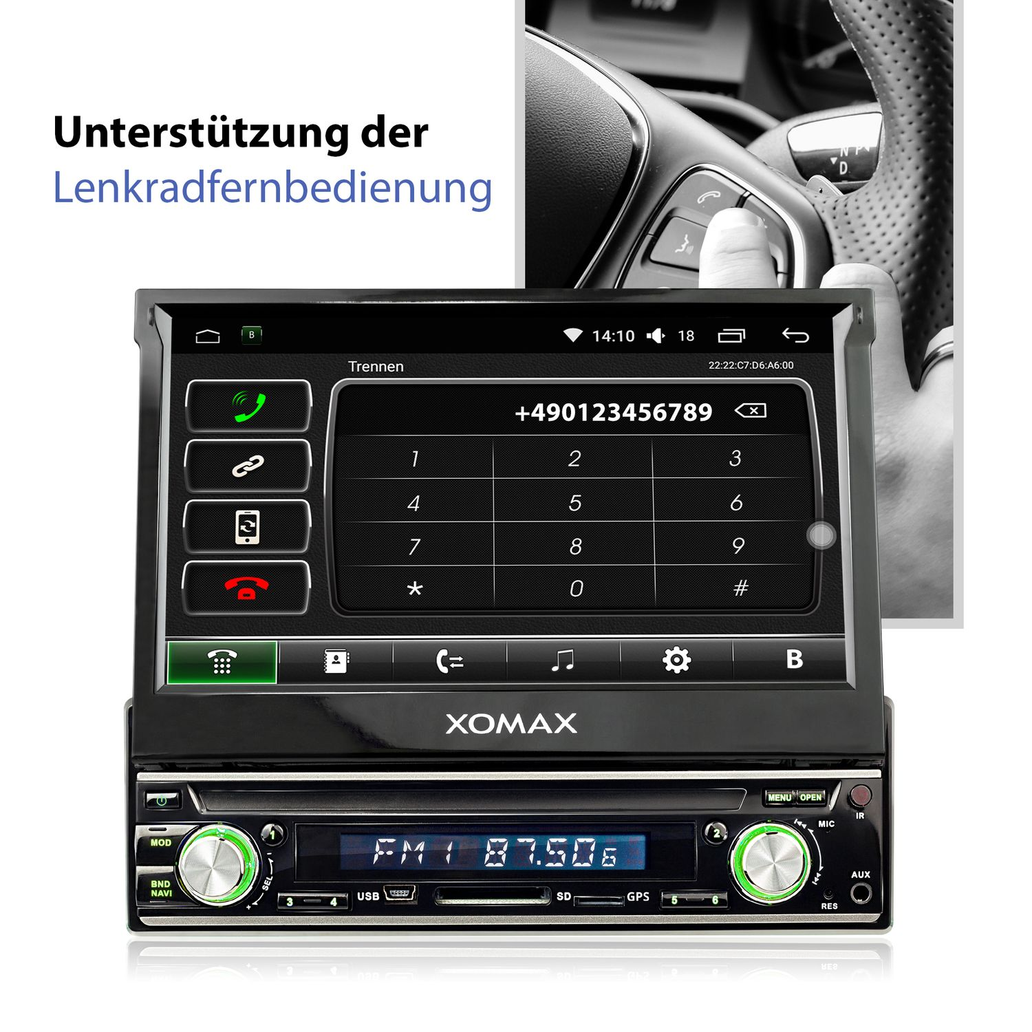 xomax xm vda713 1din autoradio mit android 6 0 1 navi 7 zoll touchscreen monitor bluetooth. Black Bedroom Furniture Sets. Home Design Ideas