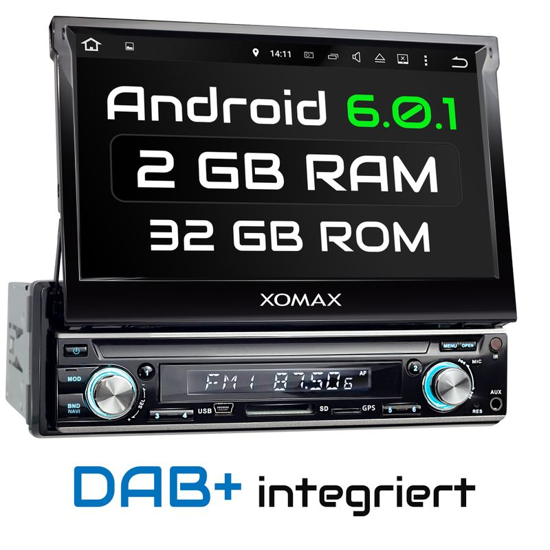 XOMAX XM-VDA713: 1DIN Android 6.0.1 Navi Autoradio mit 7 Zoll Touchscreen Monitor, Bluetooth, DAB, SD und USB (B-Ware) – Bild 1