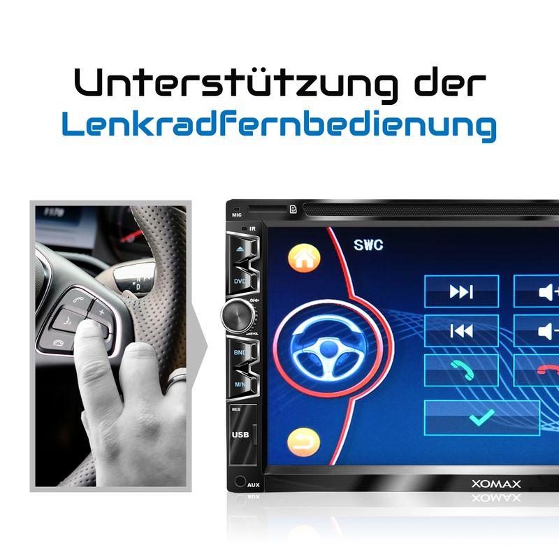 "XOMAX XM-2D6904 2DIN Autoradio mit 6,95"" kapazitivem Touchscreen Monitor, DVD-Laufwerk, Micro SD und USB – Bild 7"