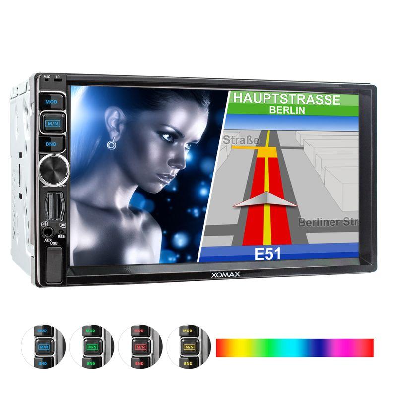 XOMAX XM-2VN716 2DIN Navi Autoradio mit GPS, USB, SD und BLUETOOTH – Bild 1