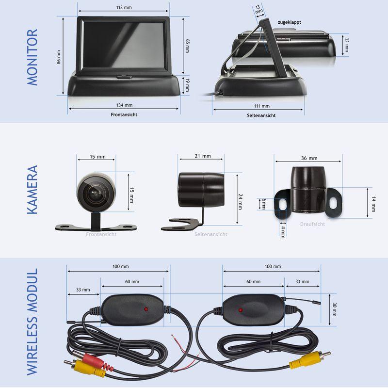 "XM-RWB017: Einparkhilfe-Set aus Rückfahrkamera, 4,3"" Monitor und wireless Transmitter  – Bild 5"