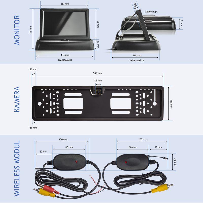 "XM-RWB014: Einparkhilfe-Set aus Rückfahrkamera, 4,3"" Monitor und wireless Transmitter  – Bild 7"