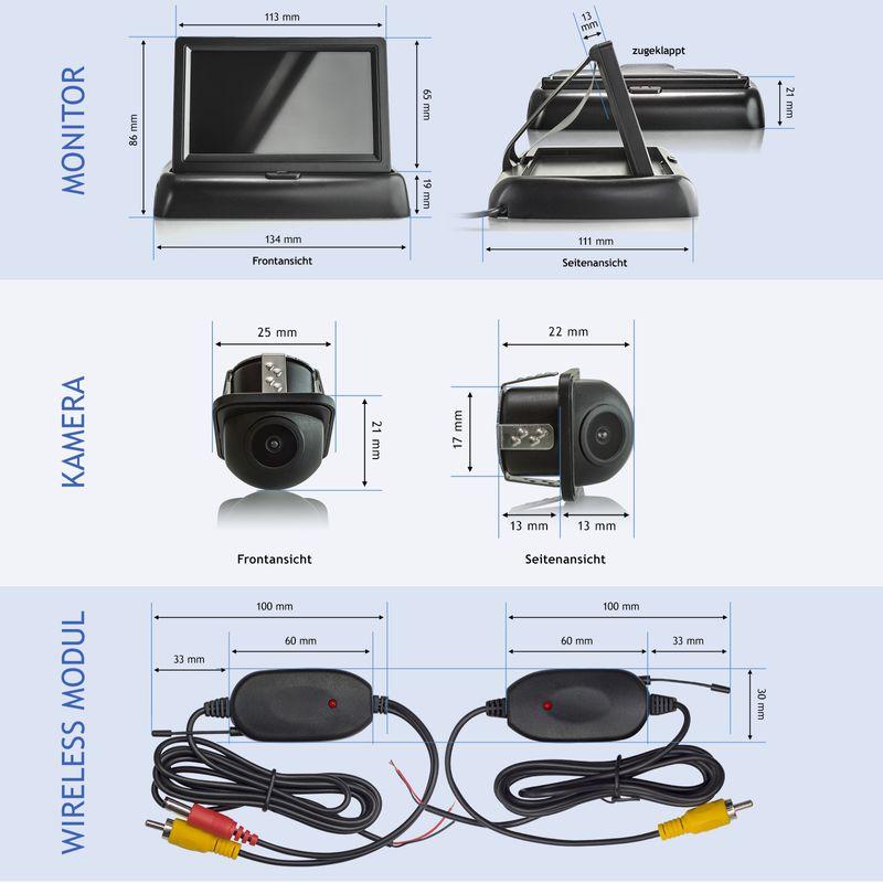 "XM-RWB012: Einparkhilfe-Set aus Rückfahrkamera, 4,3"" Monitor und wireless Transmitter  – Bild 6"
