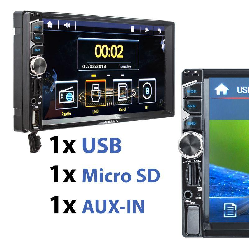 XOMAX XM-2V717: 2DIN Autoradio mit 7 Zoll Touchscreen Monitor, Bluetooth, SD und USB (B-Ware) – Bild 3