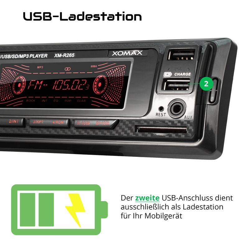XOMAX XM-R265: 1DIN, Autoradio mit Bluettoth, USB, AUX IN, ohne Laufwerk – Bild 4