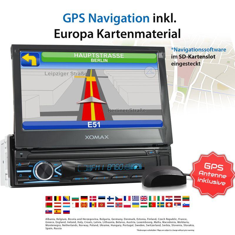 XOMAX XM-VN745 1DIN Navi Autoradio mit GPS, USB und BLUETOOTH – Bild 3