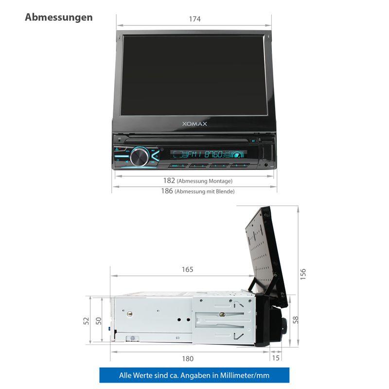 XOMAX XM-VN745 1DIN Navi Autoradio mit GPS, USB und BLUETOOTH – Bild 6